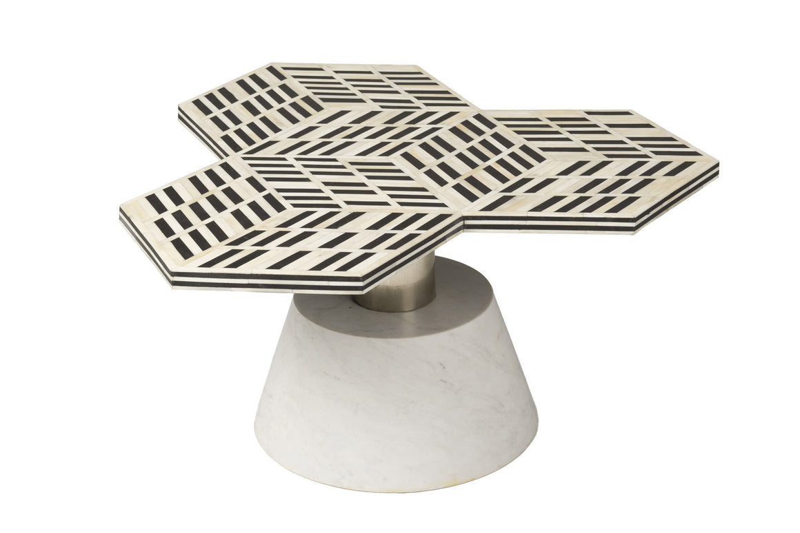 5th Avenue Art Deco Coffee Table - w/ Marble Base