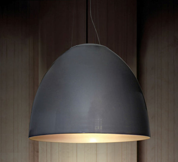 Grey modern pendant lamp with gold inner surface