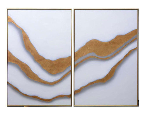 "Gold Abyss (Set of 2) - 40"" X 60"" - Gold Floater Frame"
