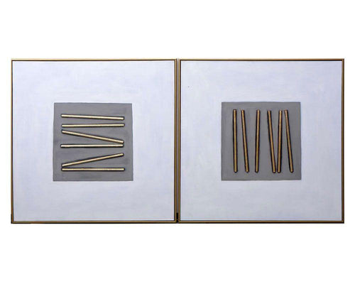 "Pick Up Sticks (Set of 2) - 48"" X 48"" - Gold Floater Frame"