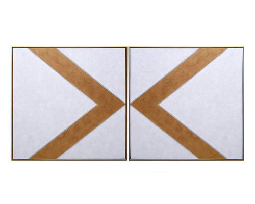 "Chevrons (Set of 2) - 48"" X 48"" - Gold Floater Frame"
