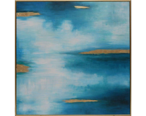 "Monet Dream - 48"" X 48"" - Gold Floater Frame"