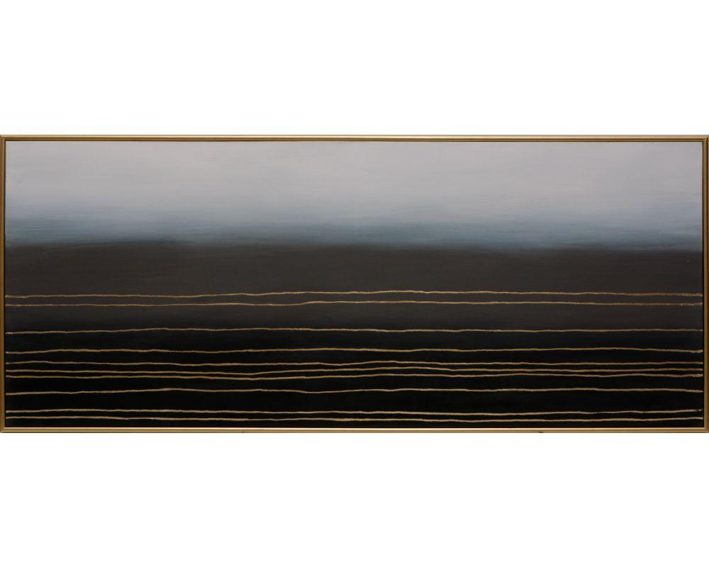 "Picture of Moody Plains - 72"" X 30"" - Gold Floater Frame"