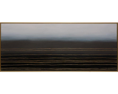 "Moody Plains - 72"" X 30"" - Gold Floater Frame"