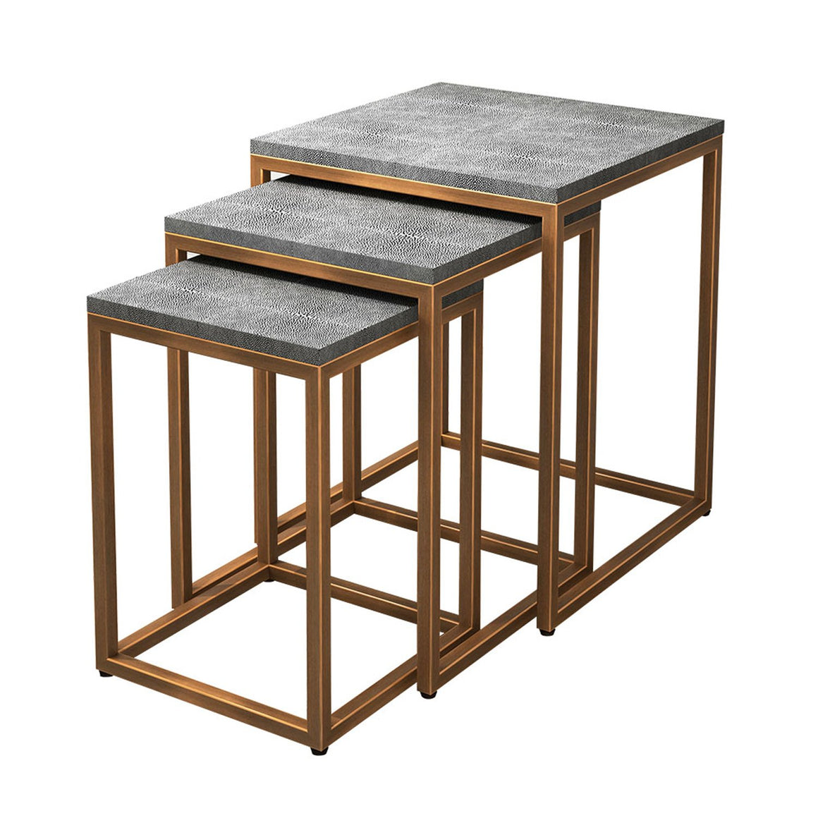 Ambiente Shagreen Nesting Side Table, Set of 3