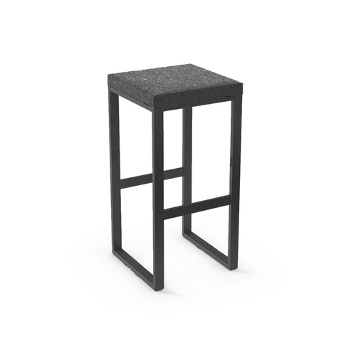 Black modern fabric counter stool with black powder coat legs