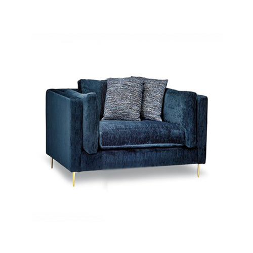 Navy modern fabric sofa with gold metal legs