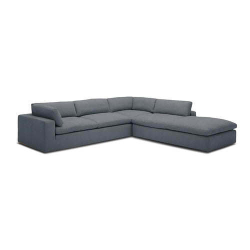 modern sectional in slate grey fabric with terminal chaise