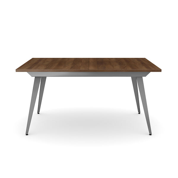Modern extendible wood topped dining table with powder coated metal legs