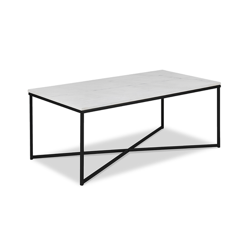 Modern Rectangular Coffee Table with White Marble Top and Black Metal Base