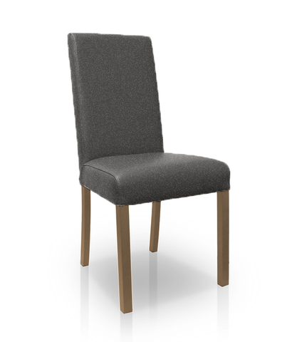 Charcoal modern fabric dining chair with walnut legs