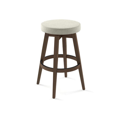 modern backless beige grey fabric counter swivel stool with metal legs