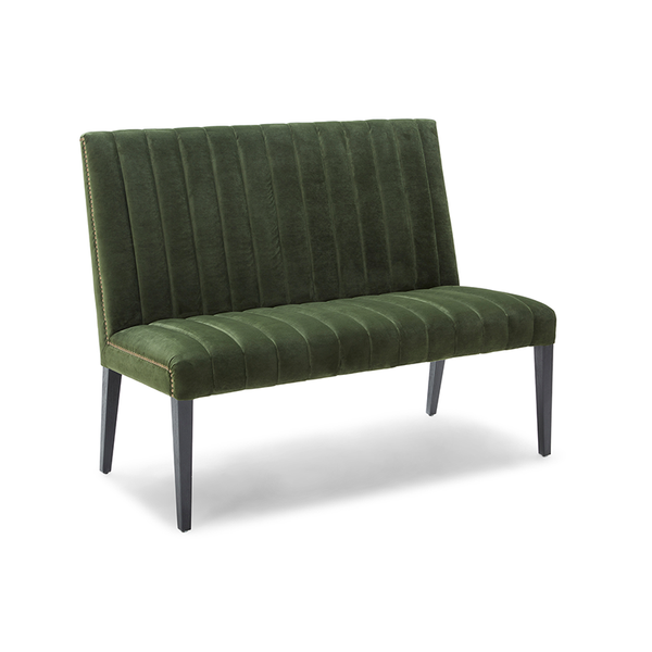 modern green velour fabric rib tufted bench with antique brass nailhead trim and distressed black leg