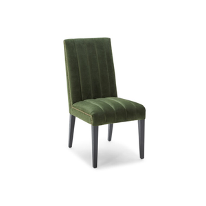 modern green velour fabric rib tufted dining chair with antique brass nailhead trim and distressed black leg