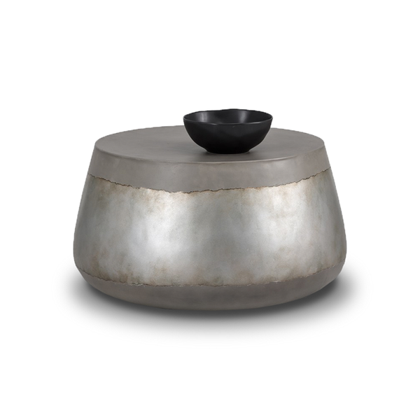 modern indoor outdoor concrete coffee table with silver accent