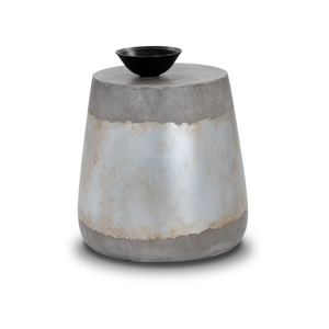 modern indoor outdoor concrete end table with silver accent