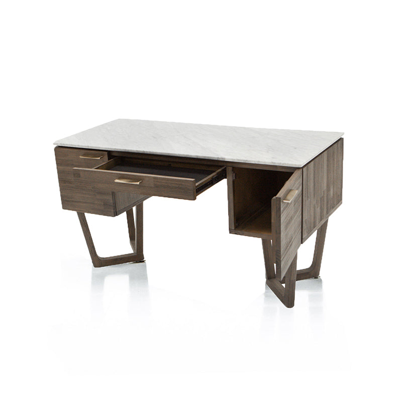 Modern acacia desk with white marble top