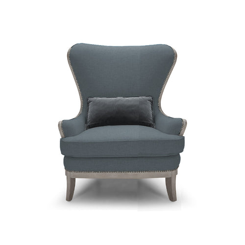 Modern Wingback Chair in Slate Velvet with Silver Nailheads and Grey Wood Base and Trim