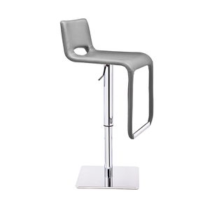 Grey modern leatherette adjustable bar stool with chrome base and foot rest