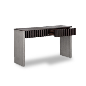 modern console sofa table with solid acacia wood top and drawer fronts and concrete legs