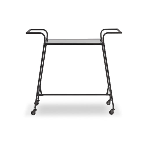 modern glass and dark bronze metal bar cart
