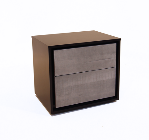 Matte black and bleached grey modern wood night stand