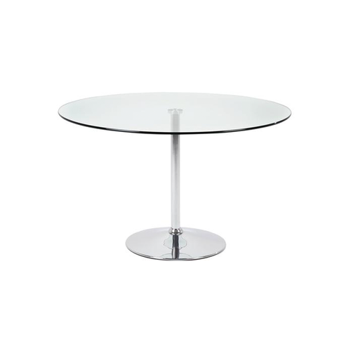 Clear modern glass cafe table with chrome trumpet base