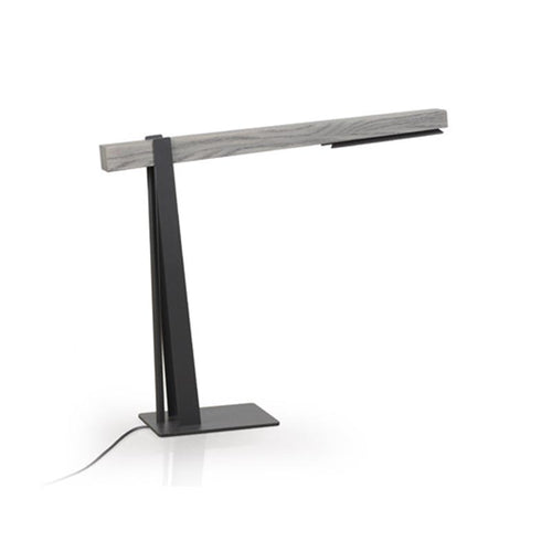 modern black powder coated steel table lamp with solid wood accent