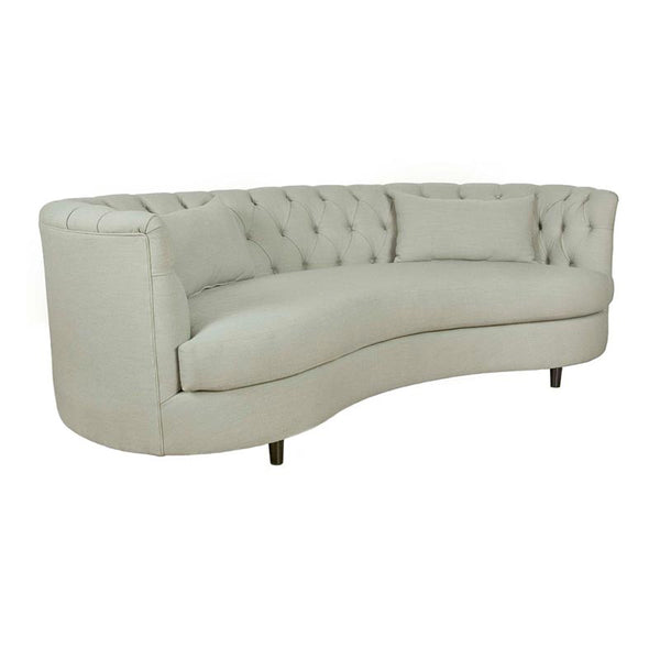 Modern Cream Beige Fabric Tufted High Arm Curved Sofa with 2 Kidney Pillows Front