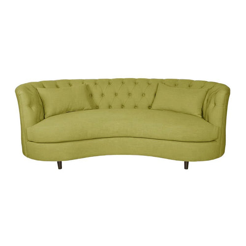 Modern Lime Kiwi Green Fabric Tufted High Arm Curved Sofa with 2 Kidney Pillows Front