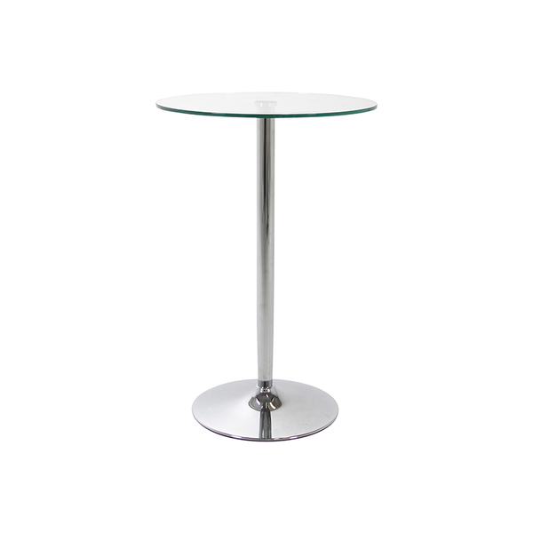 Modern glass bar table with chrome trumpet base