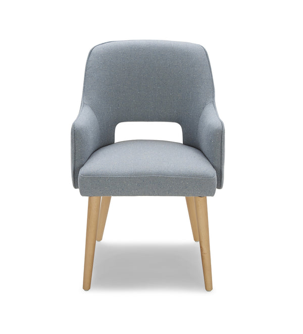 Blue grey modern fabric dining chair with light wood legs