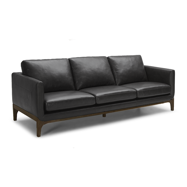 modern black top grain leather sofa with black distressed wood base