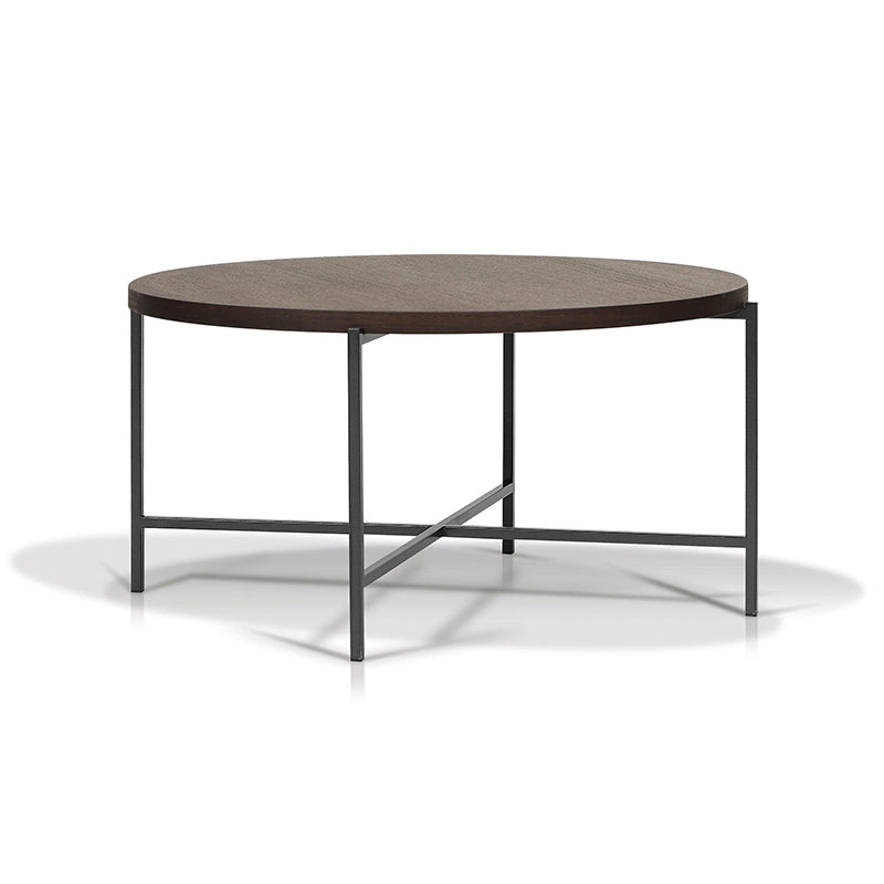 modern round smoked oak veneer coffee table with gunmetal steel base