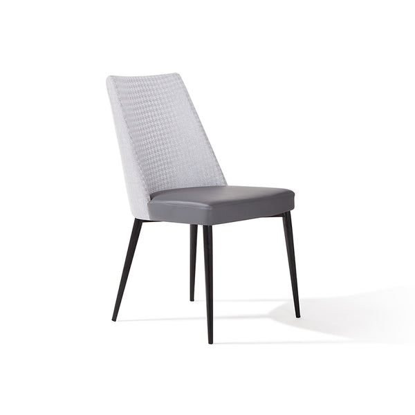 Modern Custom Order Dining Chair in two tone grey fabric and leather with black metal leg
