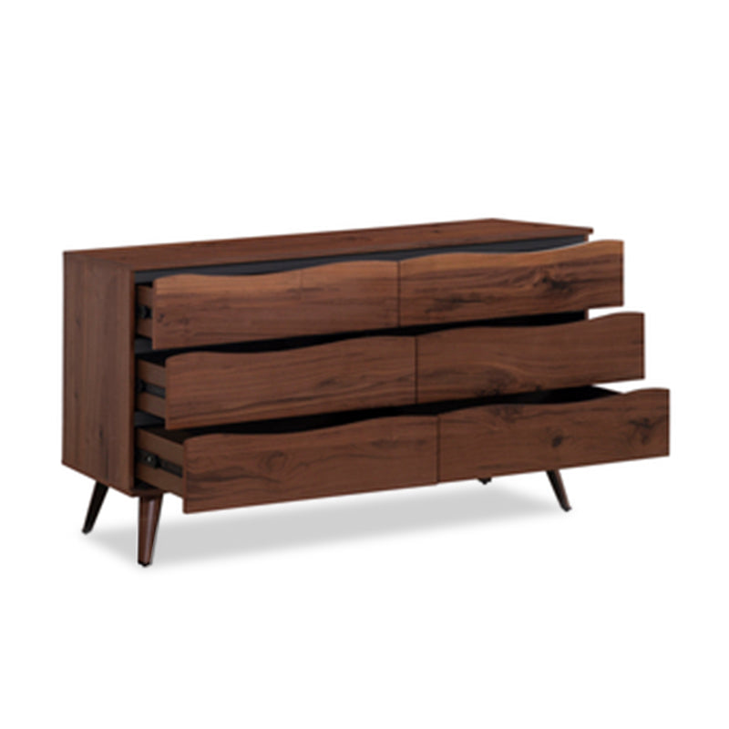 moder Live Edge walnut veneer dresser with rubberwood legs