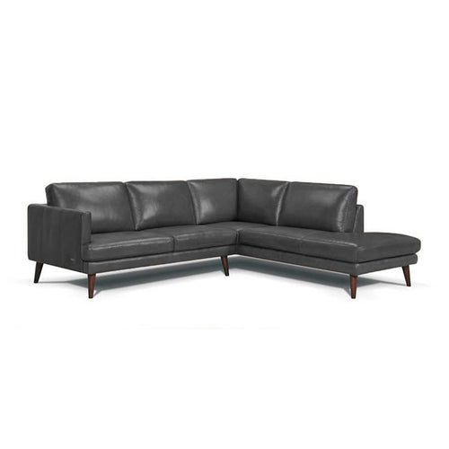 Dark pewter grey modern Leather sectional, right hand facing