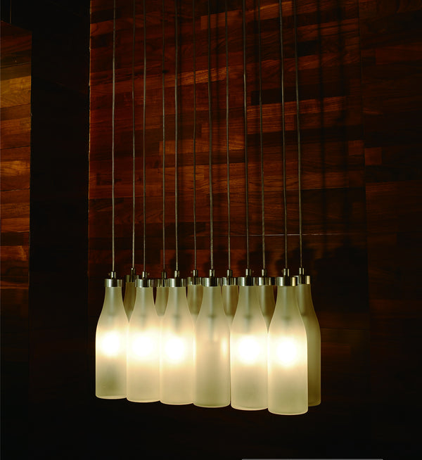 Modern linear chandelier pendant lamp with frosted glass bottle lamp shades