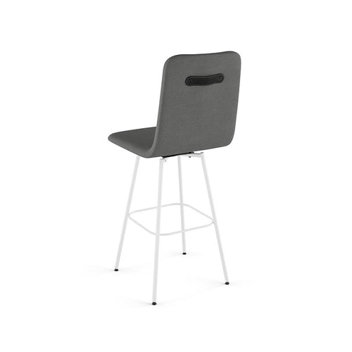 modern high back grey fabric swivel counter stool with metal legs and leather accent shown back