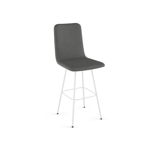 modern high back grey fabric swivel counter stool with metal legs and leather accent