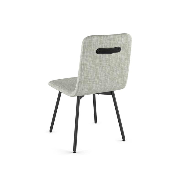 modern cream grey fabric dining chairwith metal legs and leather accent shown back