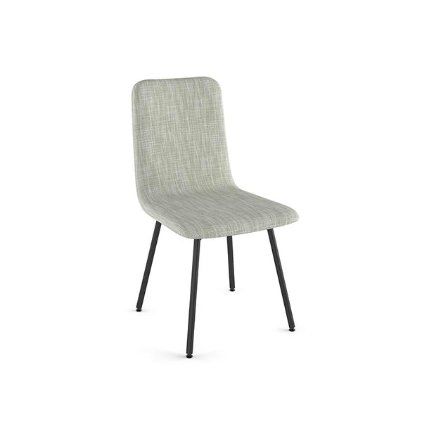 modern cream grey fabric dining chairwith metal legs and leather accent