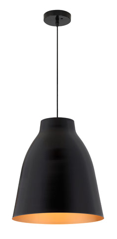 Black modern ceiling lamp with bronze shade interior