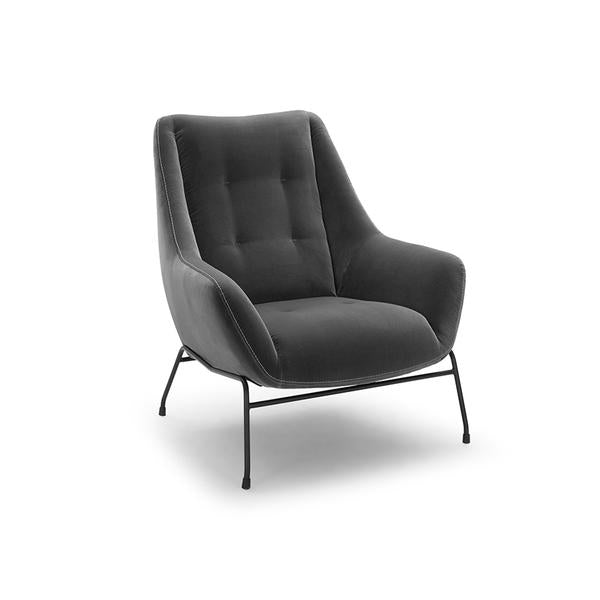 modern dark grey black button tufted velvet arm chair with black metal legs