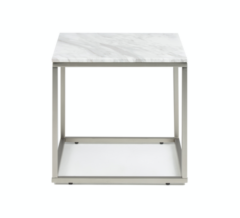 White modern marble end table with brushed stainless steel base