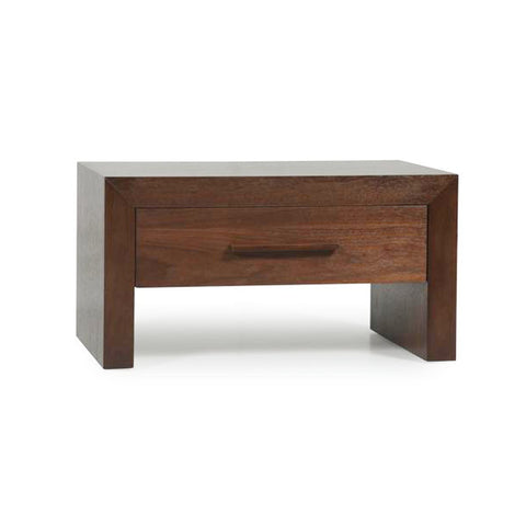 Modern Rectangular Walnut Bedside Night Table with Drawer