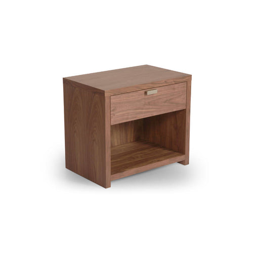 Modern Walnut Bedside Night Table with Drawer and Shelf