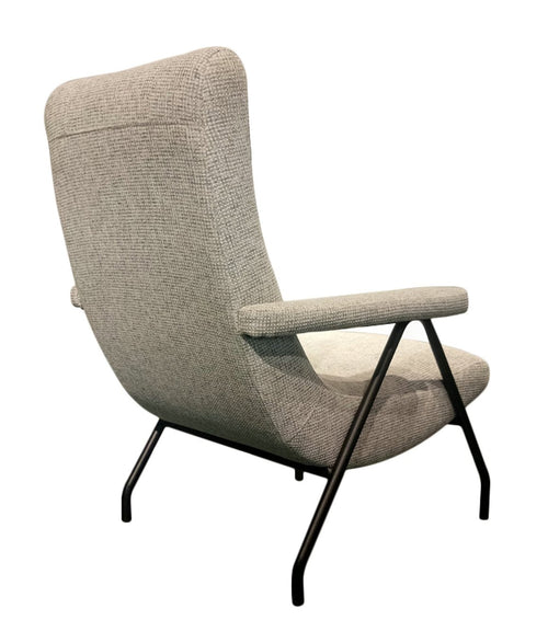 Retro Lounge Chair - Light Grey Tweed