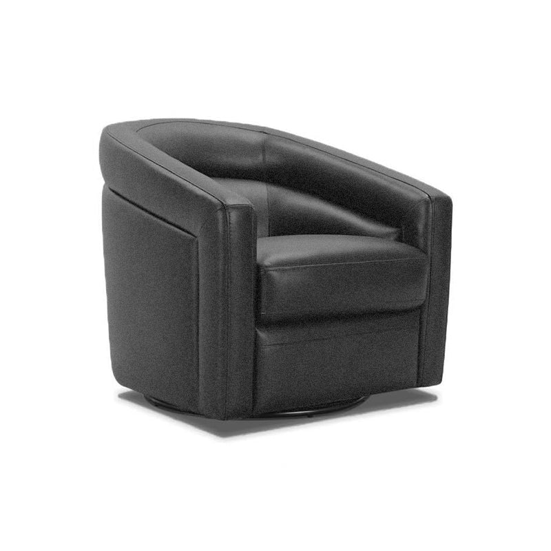 modern navy fabric swivel tub chair