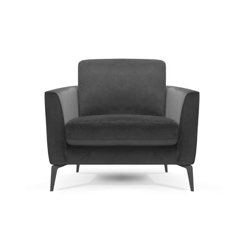 modern smoke grey velvet arm chair with angled metal legs